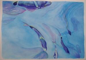 Modré ryby,akvarel 2014,36x52cm