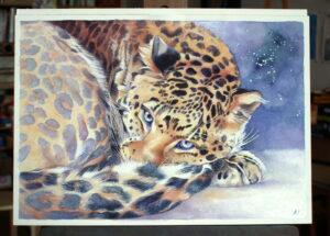 Jaguár,akvarel 2014,36x52cm