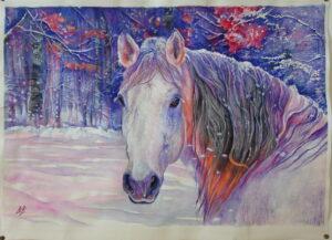 Klisna-konec zimy,2016,watercolor,56x76cm
