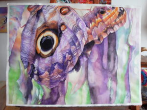Oko motýla,/Butterfly eye 2016, akvarel,56x76cm