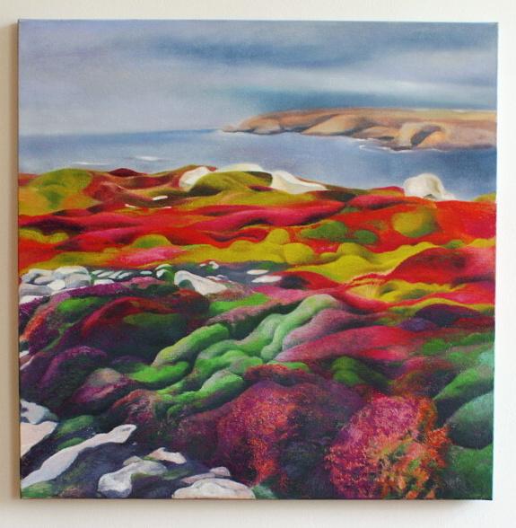 """"""" Vřesoviště v Bretani"""" 2011, 70x70 cm, malba na plátně"""