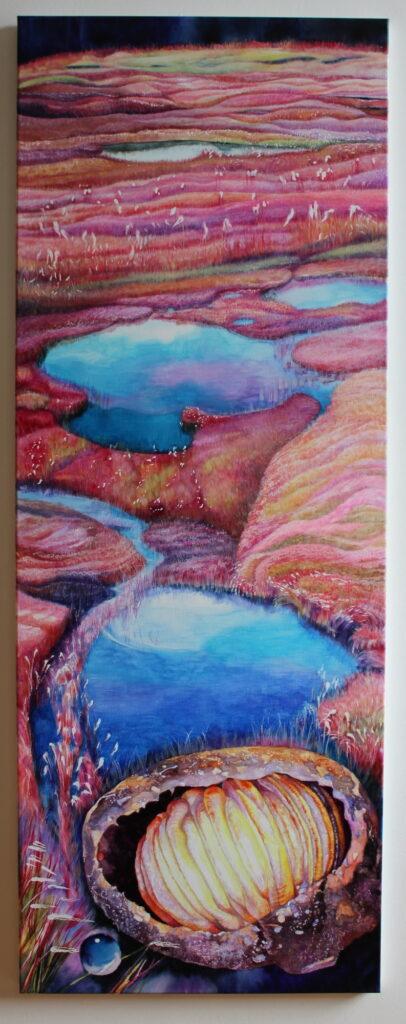 Záře kolébky /2018/watercolor on canvas/160x60cm Prodáno/SOLD