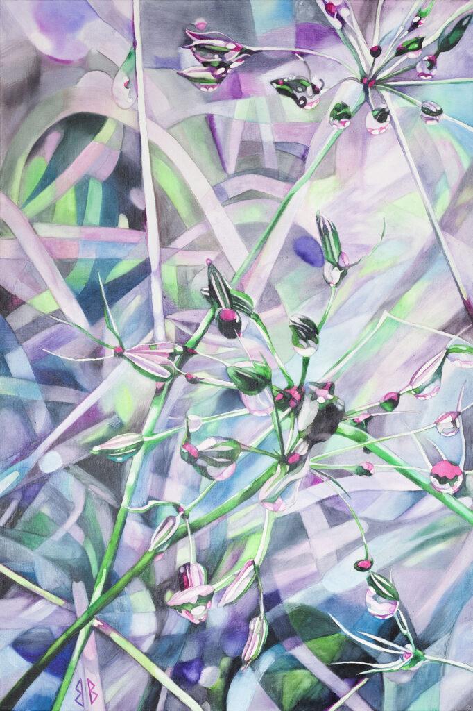 Rubínové kapky,akvarel na plátně,90x60cm